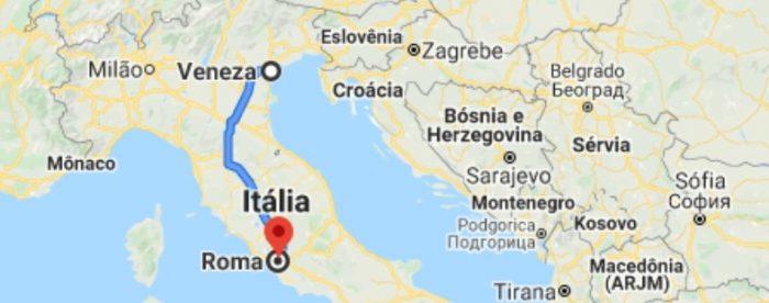 Mapa Veneza para Roma