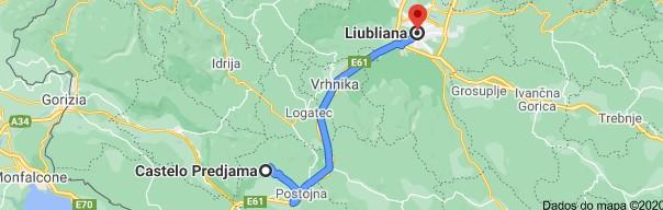 Mapa Castelo de Predjama para Liubliana
