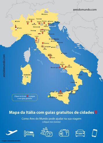 Mapa da Itália com cidades