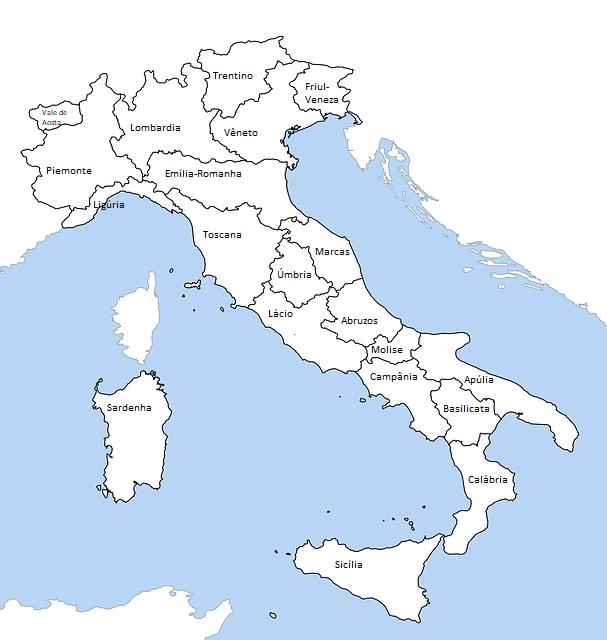 Mapa com as regiões da Itália
