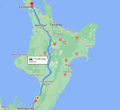 Distância de Auckland a Wellington