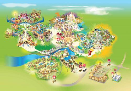 Mapa dos parques temáticos de Dubai