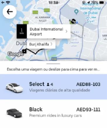 Preço do Uber em Dubai